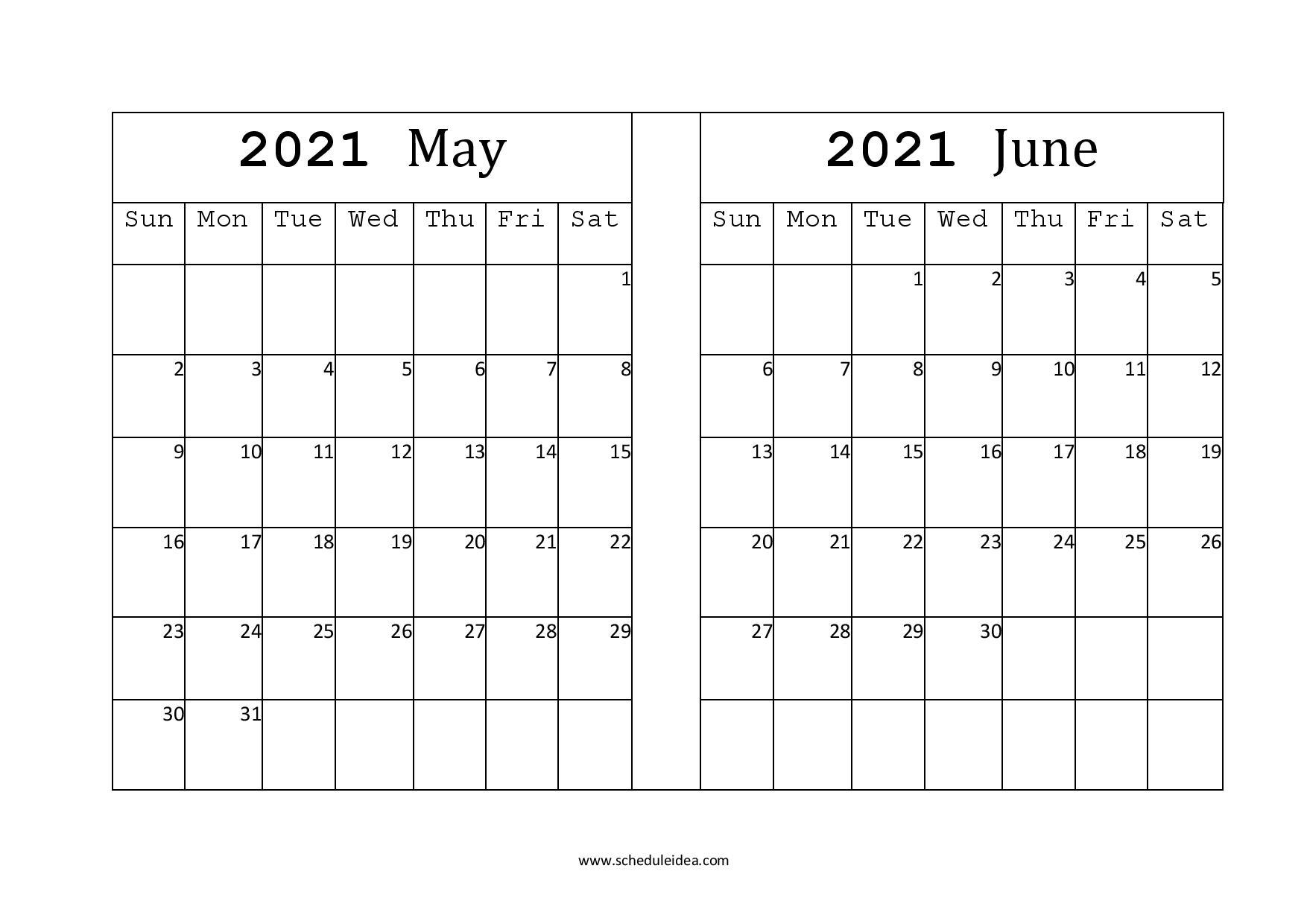 Calendar 2021 May June