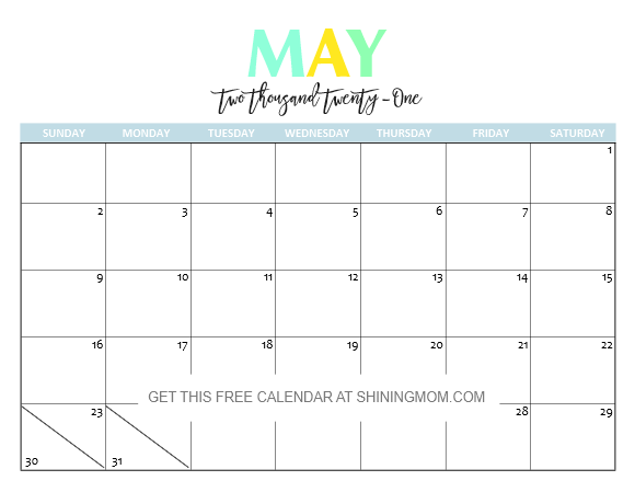Cute May to July Calendar 2021 Template