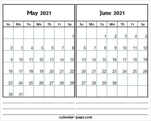 May June 2021 Calendar Printable