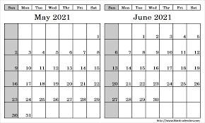May June 2021 Printable Calendar