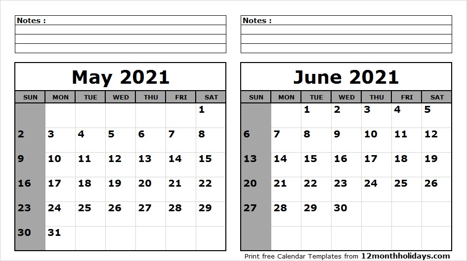 May June Calendar 2021