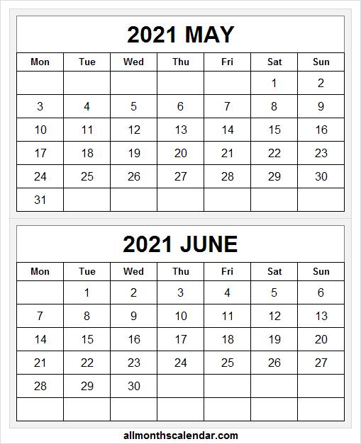 Print Free May June Calendar 2021