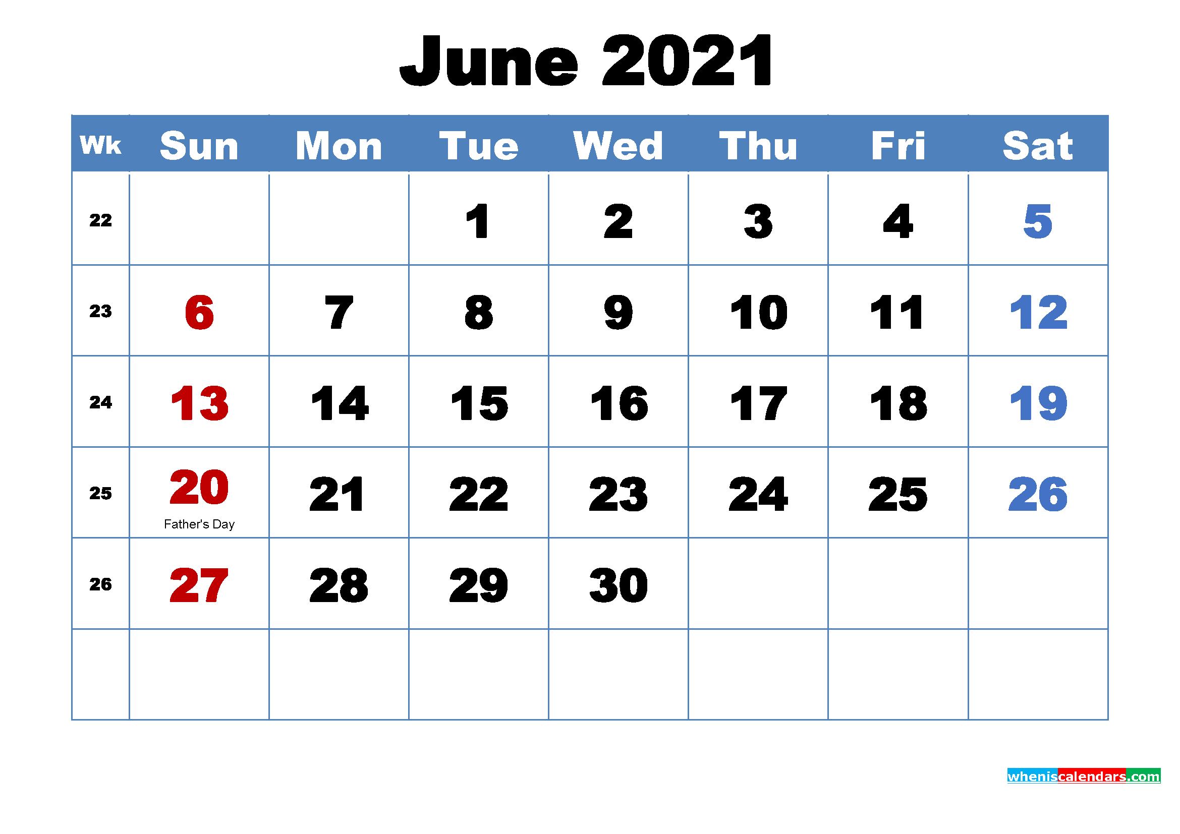 2021 Calendar June July Month
