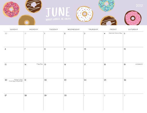 Calendar June 2021 Editable