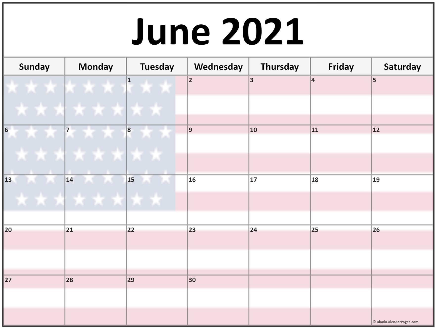 Cute June 2021 Calendar Printable USA