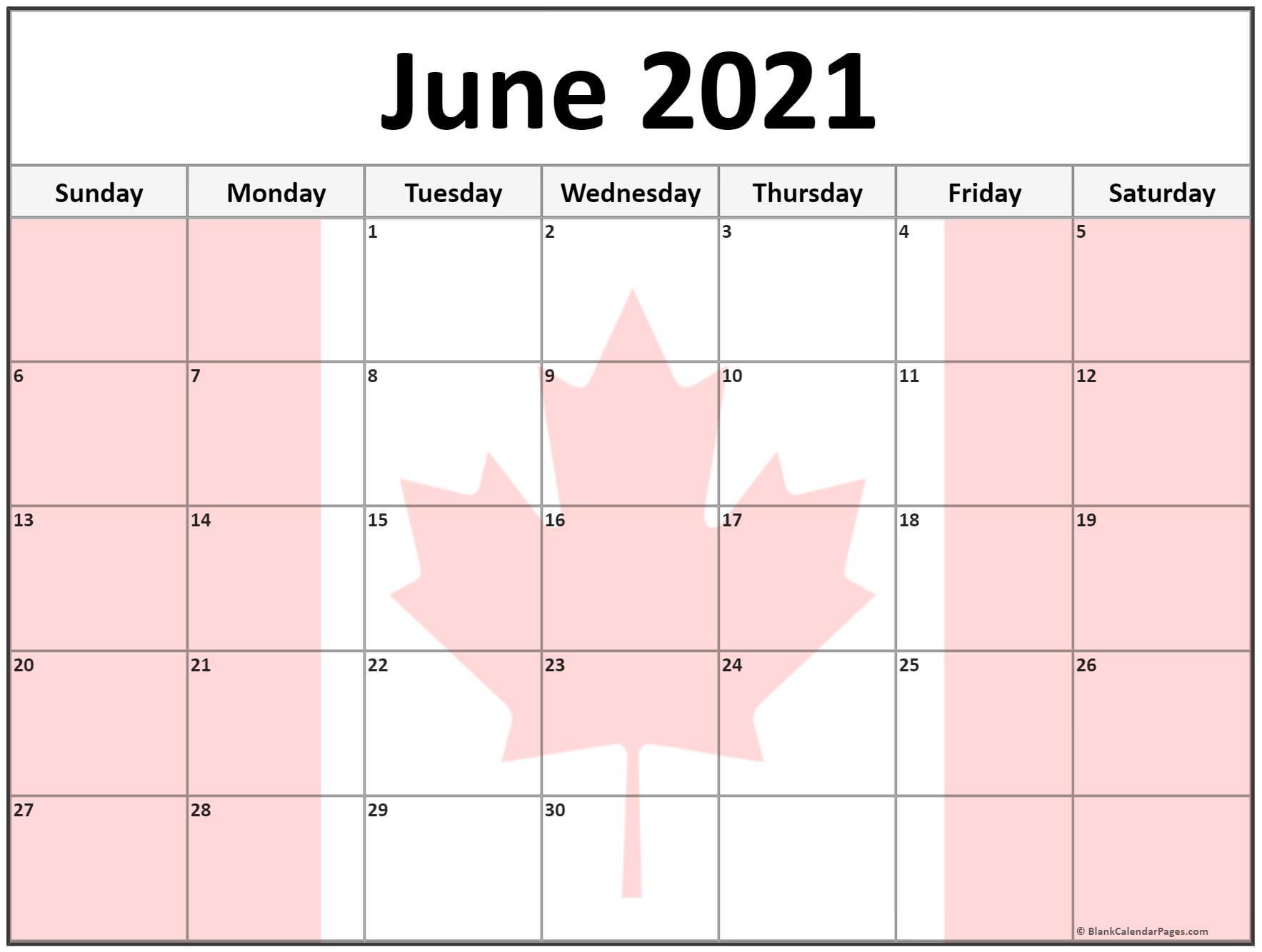 June 2021 Calendar Canada Flag