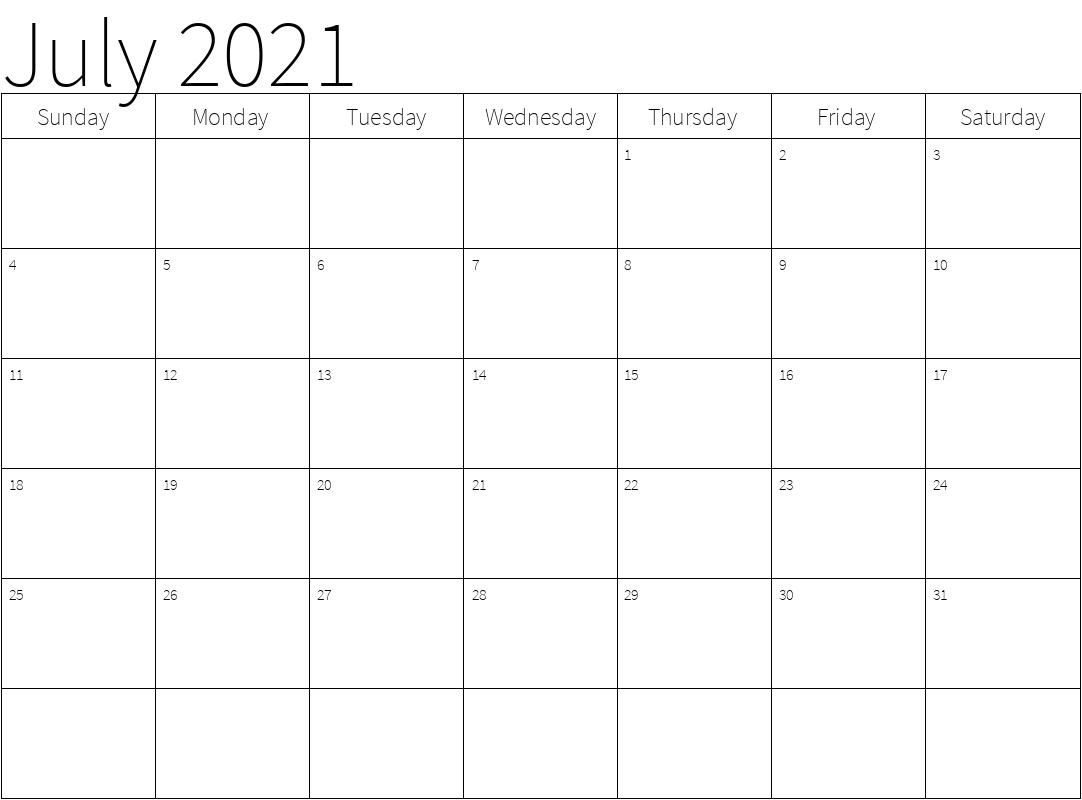 2021 Calendar July Template