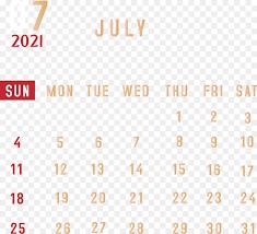 2021 July Calendar PNG
