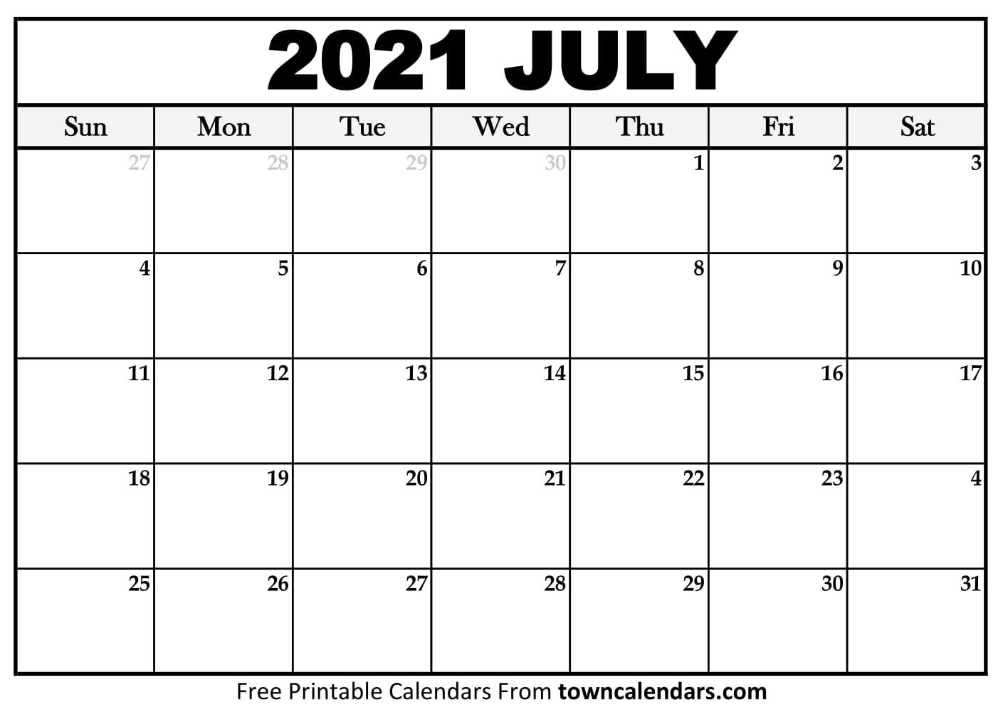 Calendar 2021 July Printable
