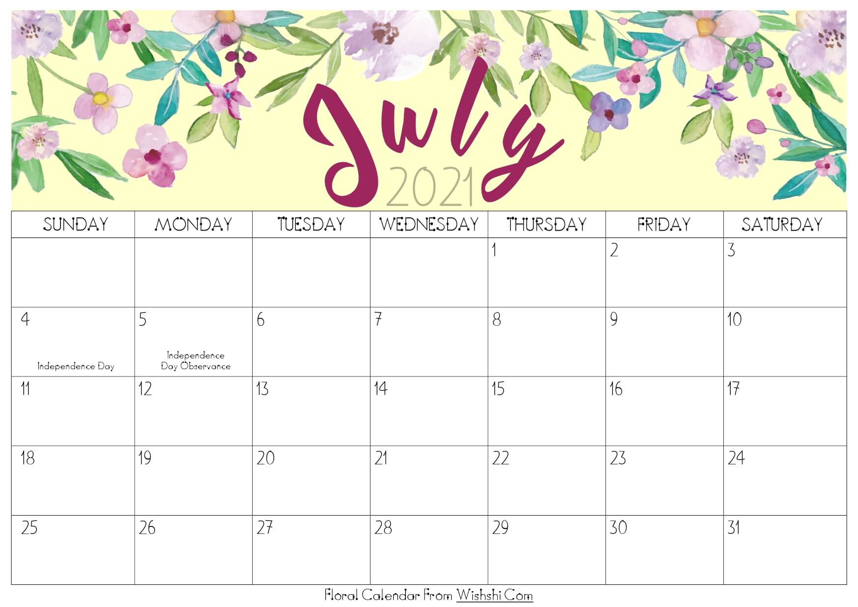 Calendar July August 2021 Cute Printable