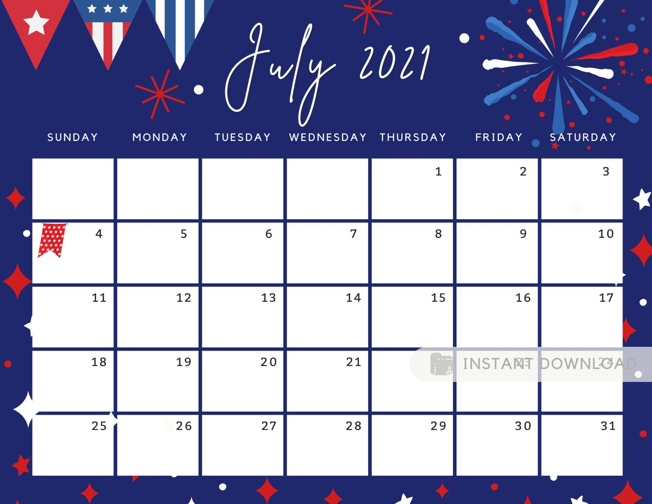July 2021 Printable Calendar with Lines