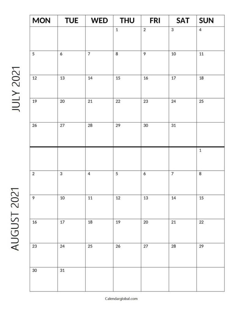 July August Calendar 2021 Mon Sun