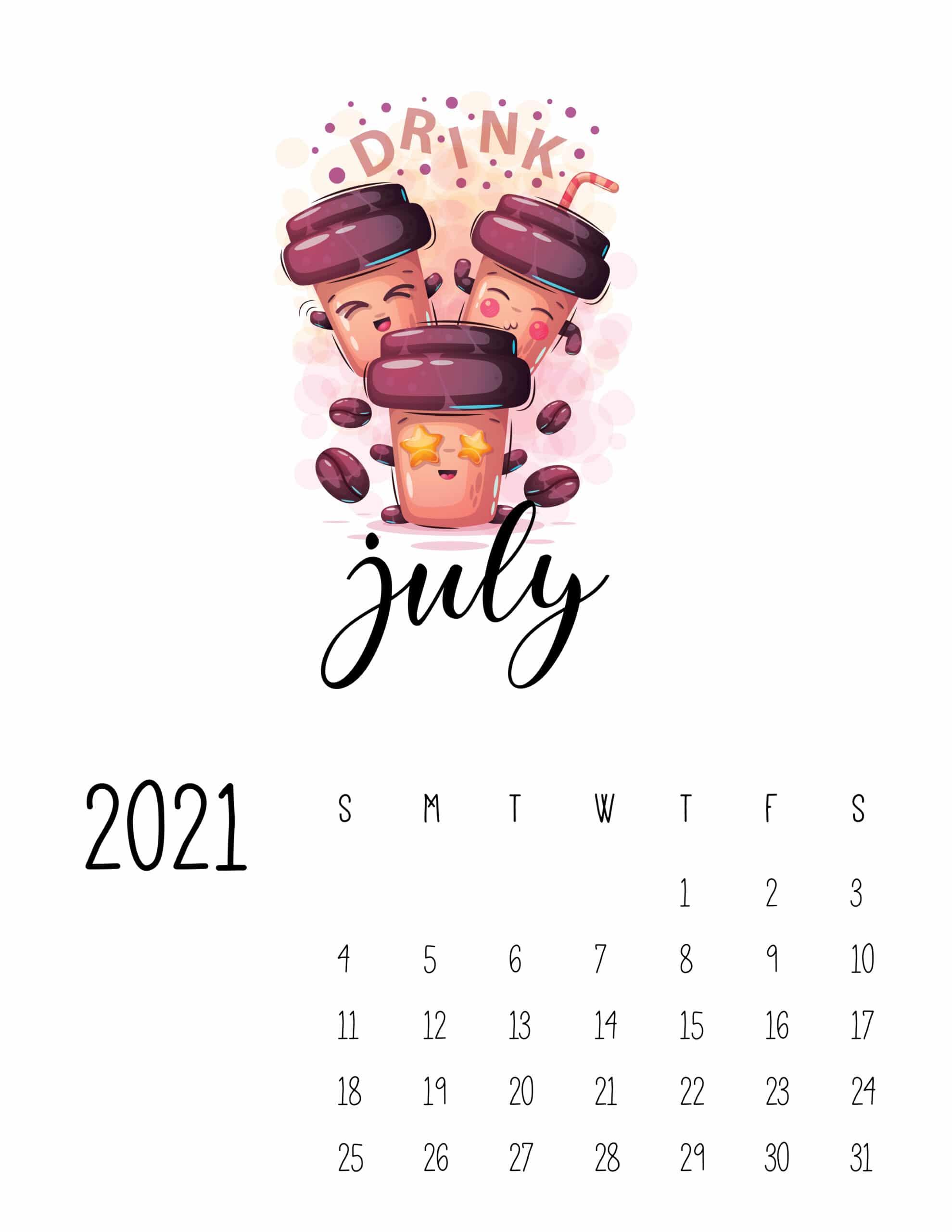 Calendar July 2021 Cute Printable