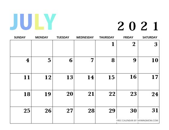 Calendar July 2021 Design