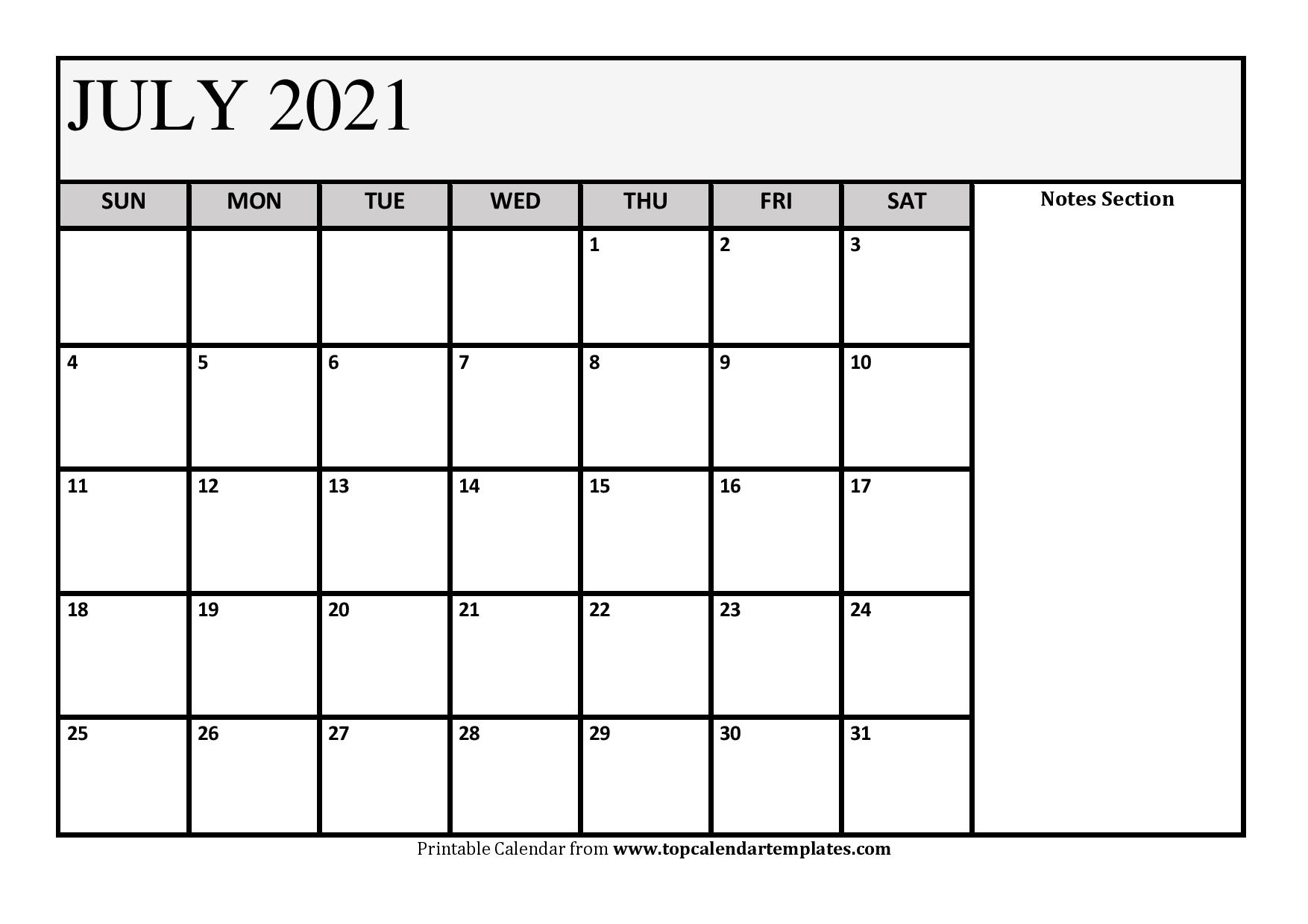 July 2021 Calendar and Notes