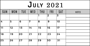 July 2021 Printable Calendar with Notes