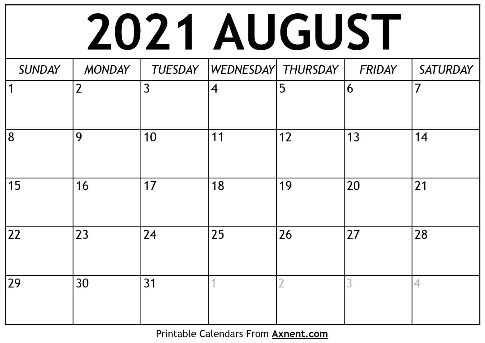 2021 Aug Printable Calendar