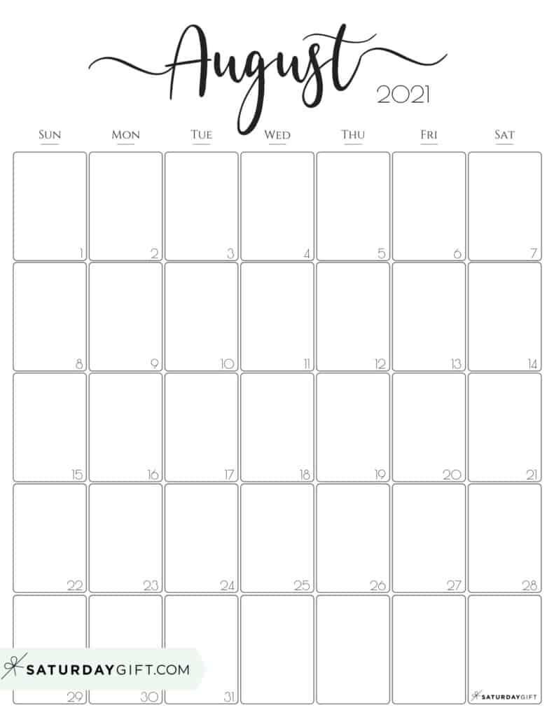 Aug 2021 Calendar Printable Template