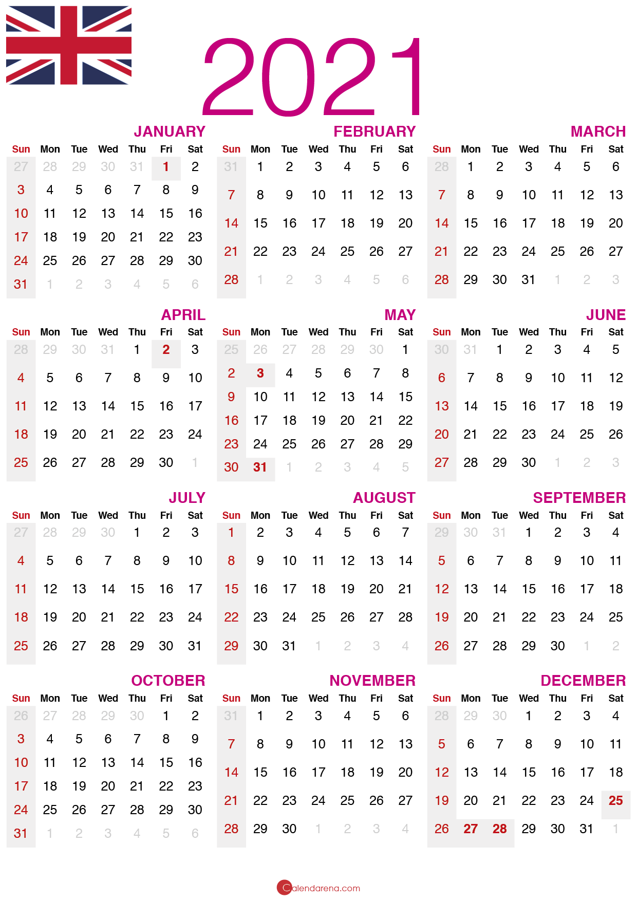 August 2021 Printable Calendar UK