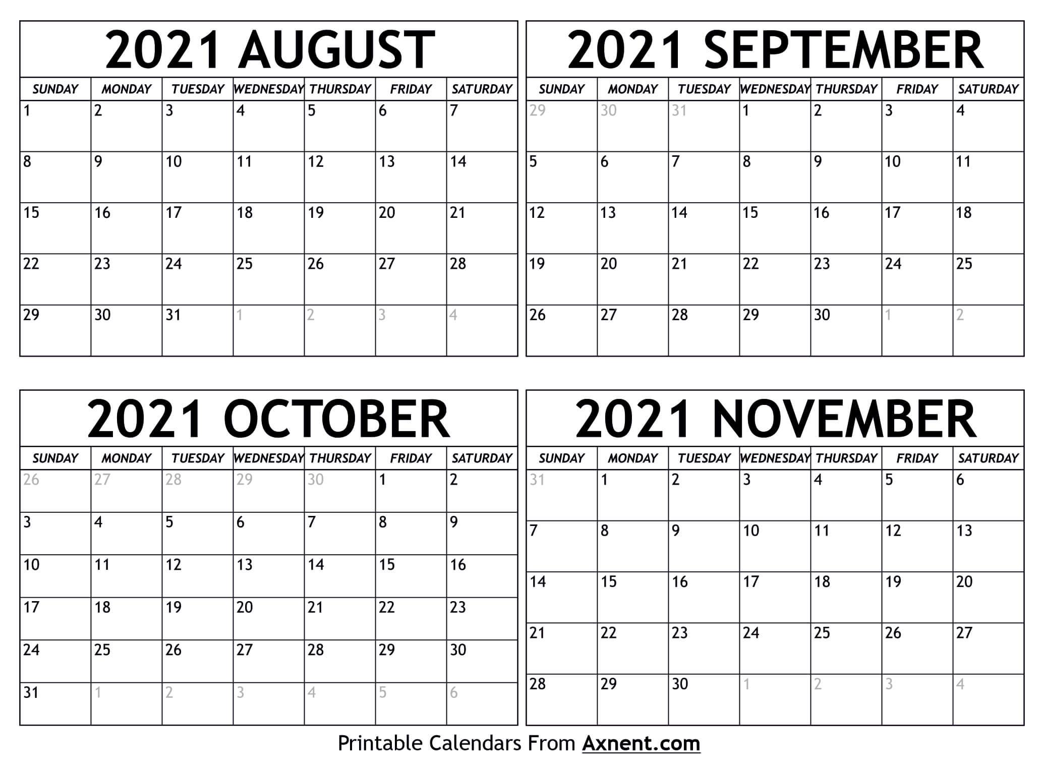 August September 2021 Calendar Template