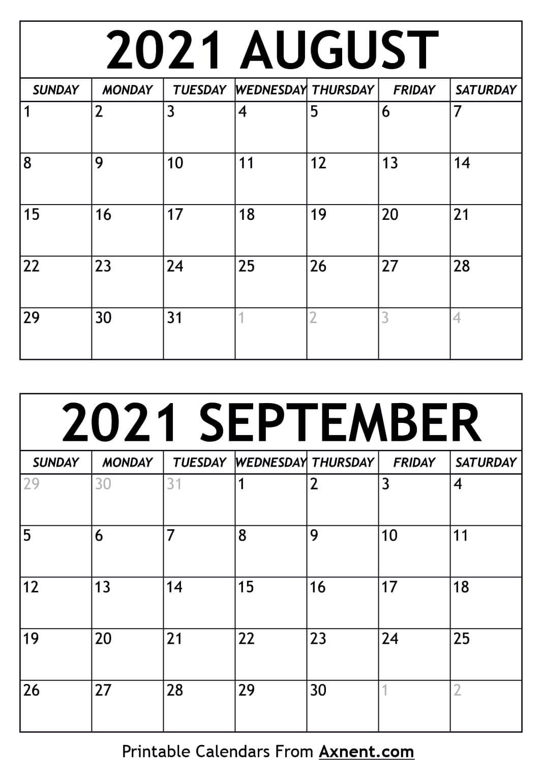 Blank Aug Sep 2021 Calendar Template