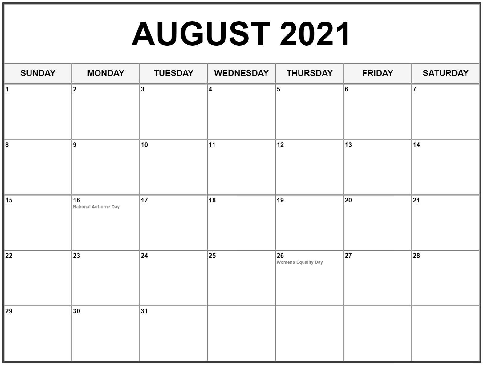 Printable Blank Calendar Aug 2021