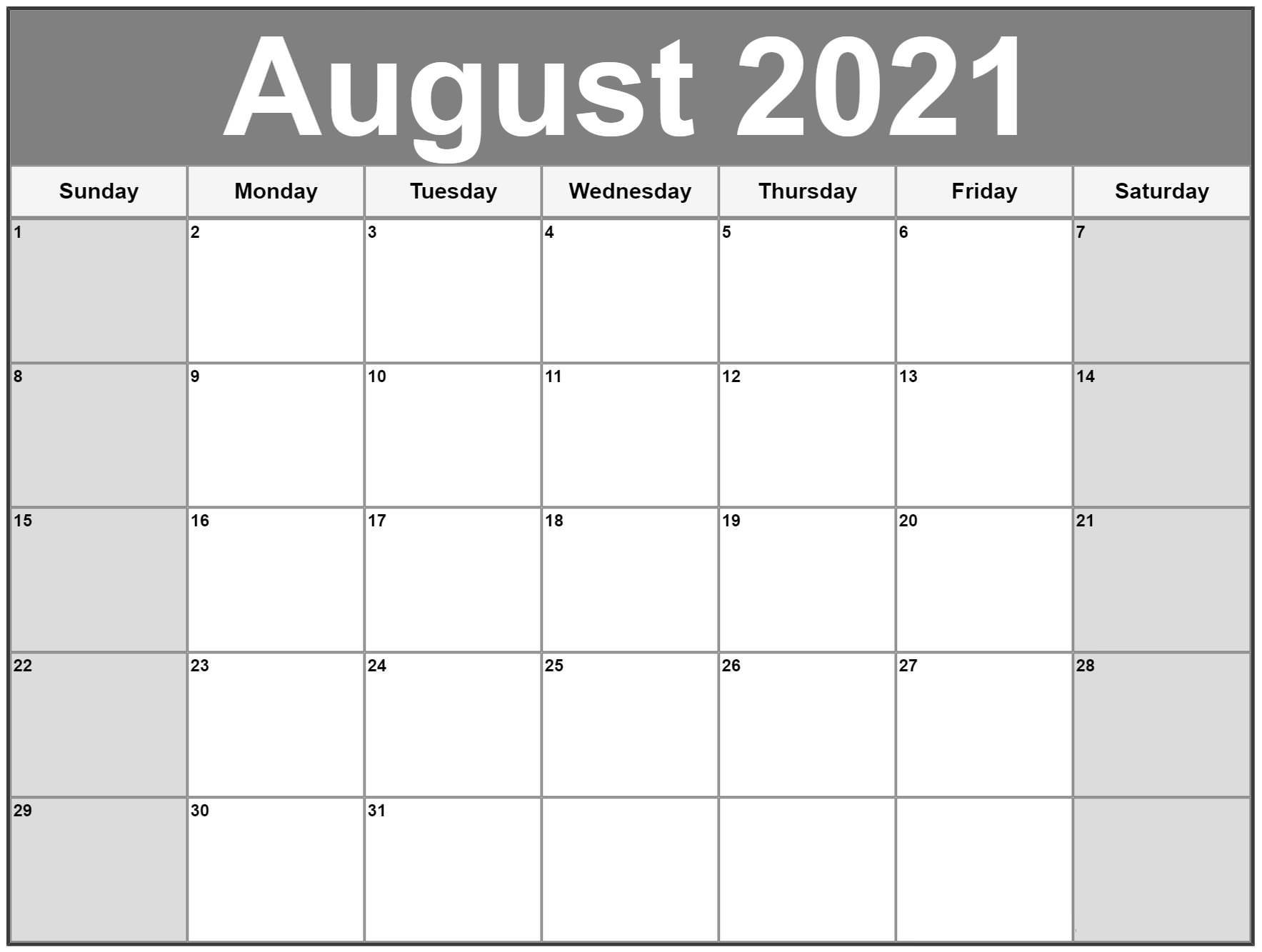 Blank Aug 2021 Calendar Template
