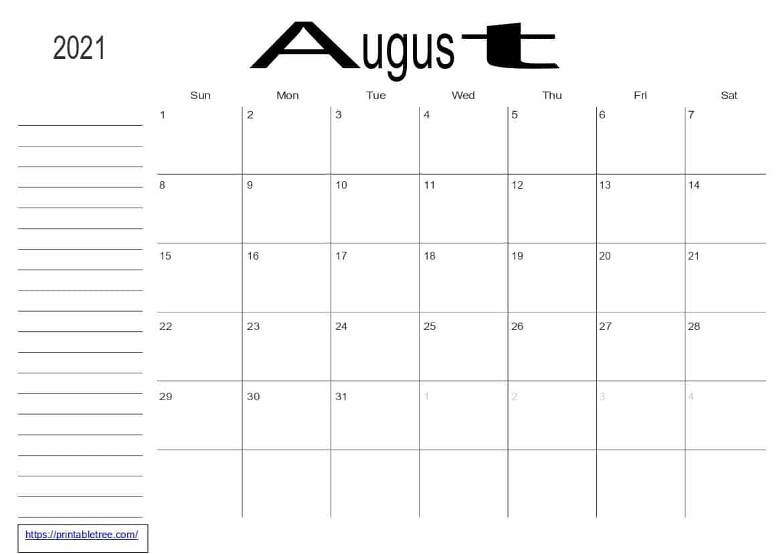 Monthly Calendar 2021 Aug