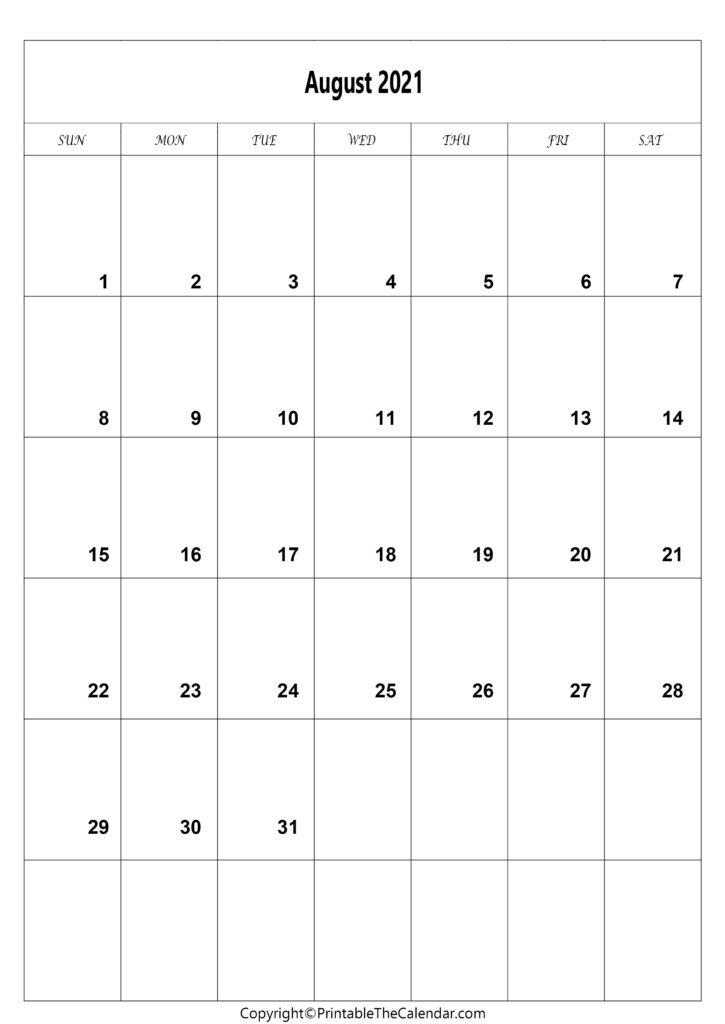 Printable Aug 2021 Calendar Free