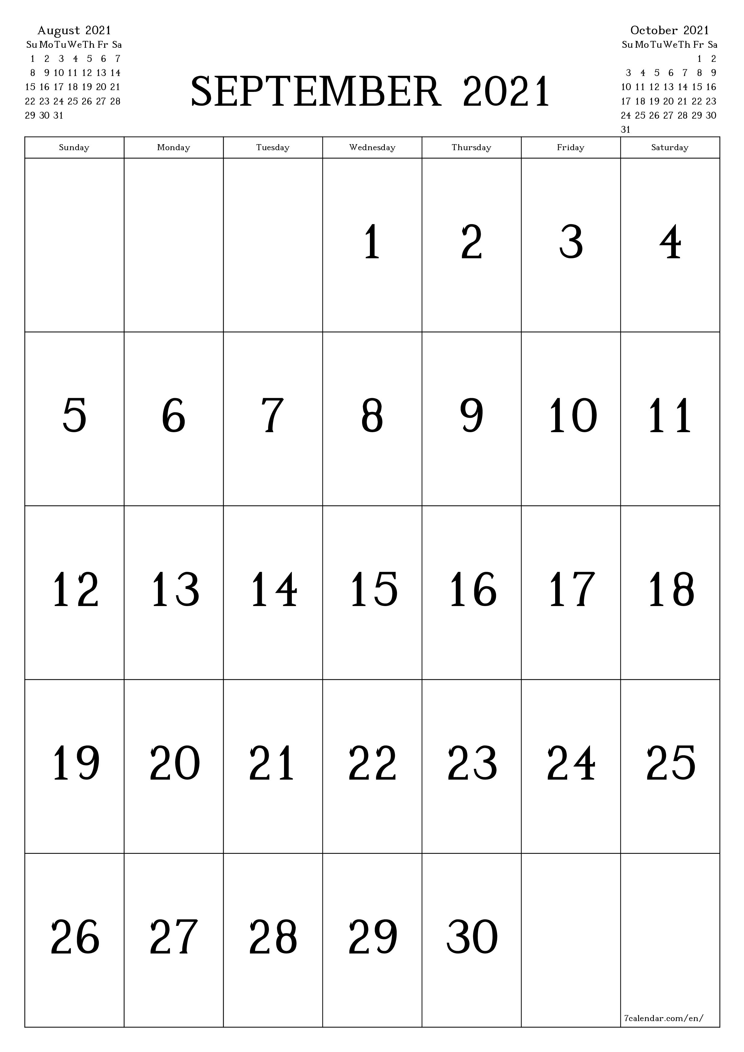 2021 September Calendar to Print