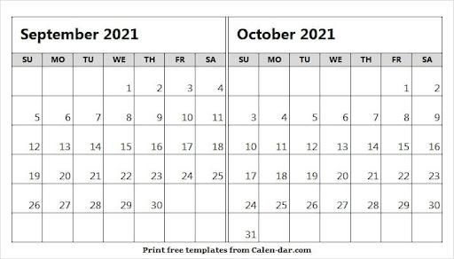 2021 September October Calendar
