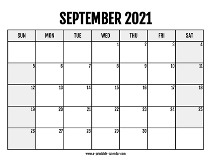 2021 September Printable Calendar