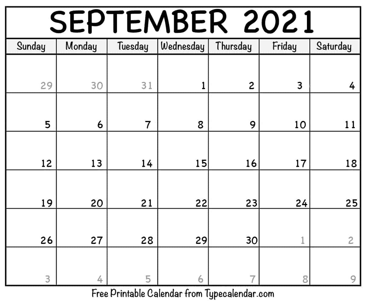 Blank September 2021 Calendar Template