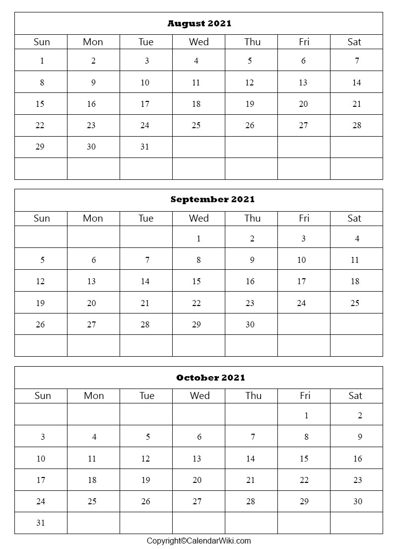 Editable September October 2021 Calendar