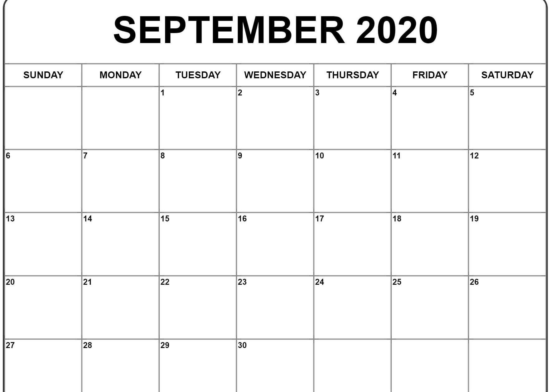 Printable Blank Calendar September 2021