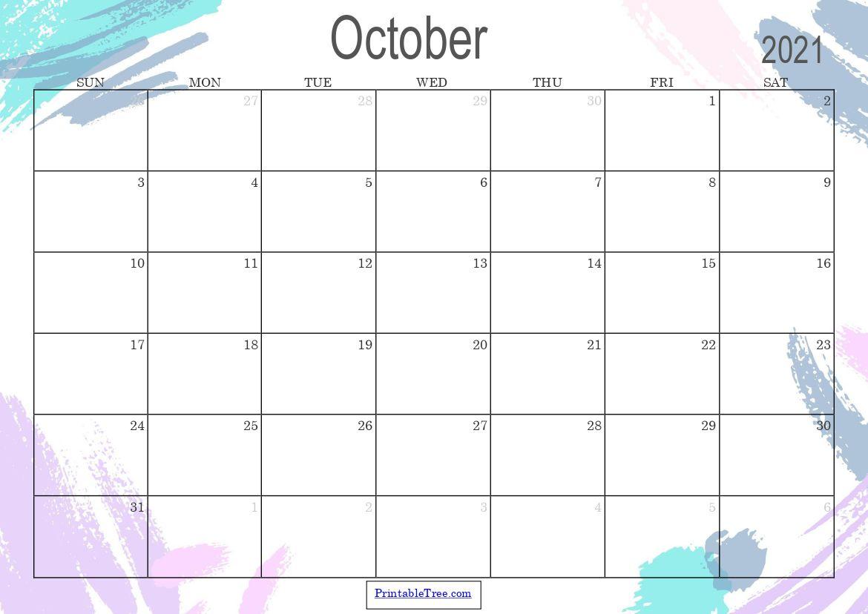 Blank Printable Calendar October 2021